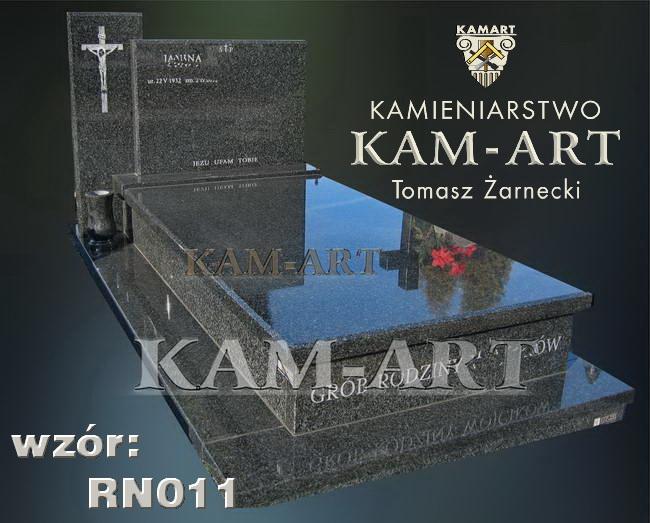 nagrobek na grób ziemnny na cmentarzu grębałów kraków z granitu impala td