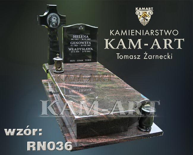 nagrobek z granitu Aurora cmentarz Grbałów Kraków