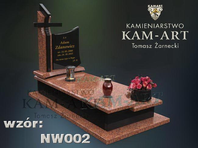 projekt nagrobka granitowego z vangi do Krakowa