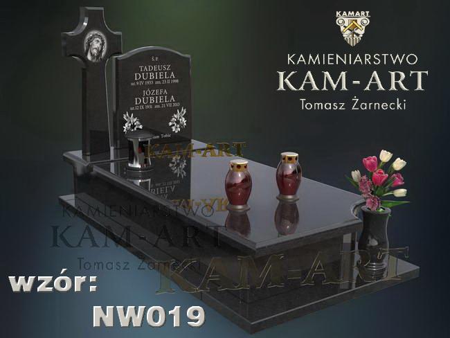 projekt nagrobka z czarnego granitu na cmentarz Prokocim w Krakowie