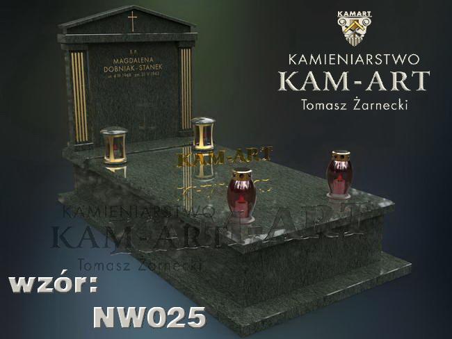 projekt nagrobek z brazylijskiego granitu na Rakowice w Krakowie