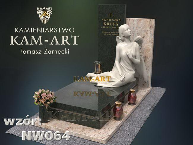 nowoczesny nagrobek z rzeźbą Kraków Batowicki cmentarz